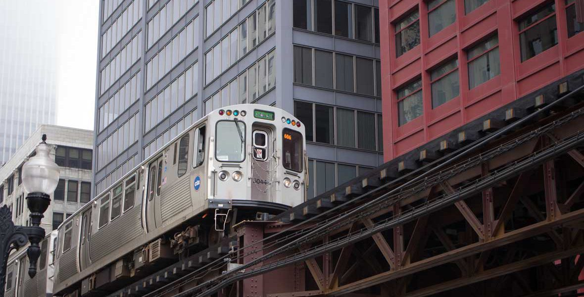 Elevated train in Chicago.